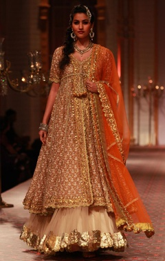 Beige resham work jacket with Inner and beige lehengha and orange dupatta