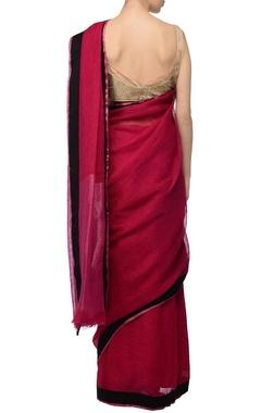 Raani pink & black linen sari