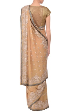 Beige sequin embroidered sari