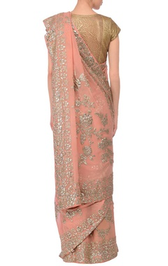 Peach sequin embroidered sari