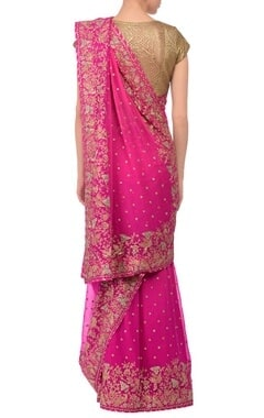 Pink embroidered sari