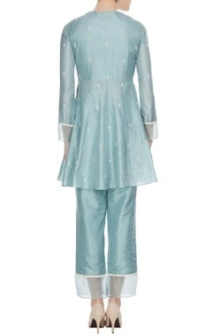 Teal blue silk & organza kardhana work short anarkali set