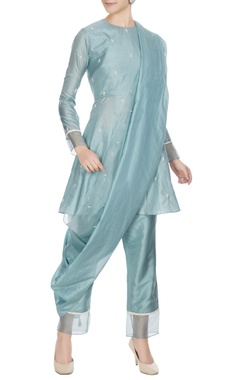 SVA - Sonam and Paras Modi Teal blue silk & organza kardhana work short anarkali set