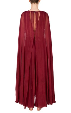 marsala embroidered cape blouse with palazzos