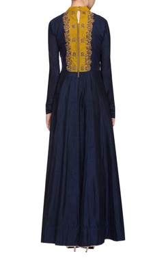 Midnight blue embroidered anarkali with two toned dupatta