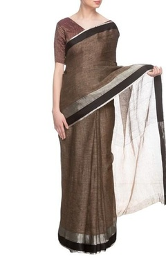 Brown linen handwoven sari