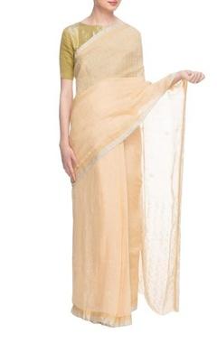 Butter yellow handwoven linen sari