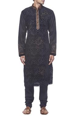 Black velvet motif kurta set