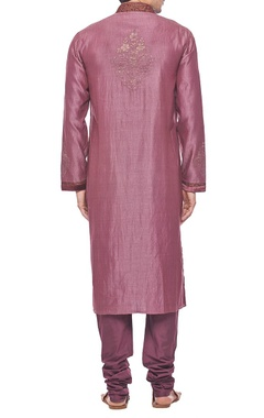 Deep plum embroidered kurta set