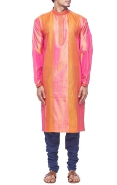 Pink & orange panel silk kurta