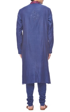 deep blue embroidered kurta set