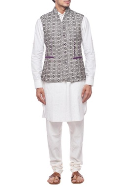 Black and white motif nehru jacket