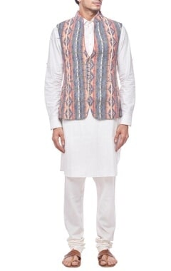 Muli colored printed nehru jacket