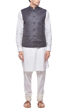 Grey nehru jacket with stitch detailing