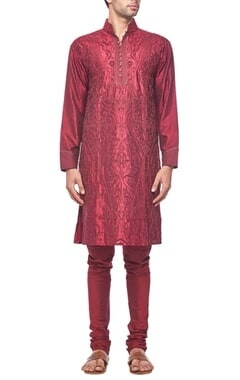 Deep red tonal embroidered kurta set