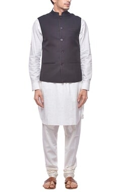 Black nehru jacket with stitch detailing