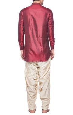 Deep red silk short kurta