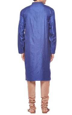 Deep blue motif embroidered kurta set