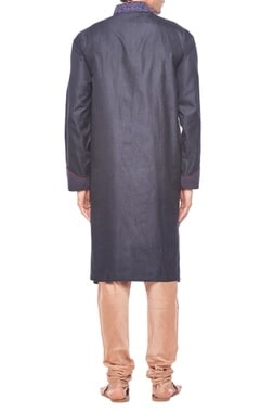 Cobalt & black tonal embroidered kurta set