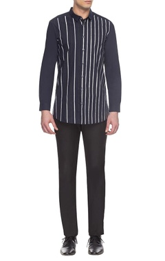 Anuj Bhutani - Men Dark blue striped shirt