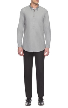 Anuj Bhutani - Men Grey placket detailed short kurta