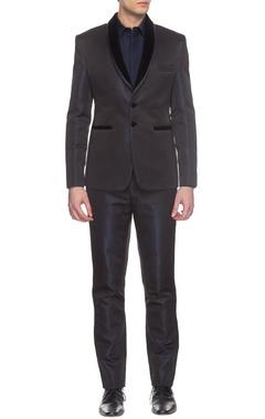 Navy blue textured tuxedo