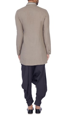 Grey linen blend solid draped kurta