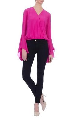 Siddhartha Bansal Pink wrap style crepe silk blouse