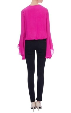 Pink wrap style crepe silk blouse