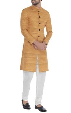 Khanijo Mango handloom silk kantha chequered achkan