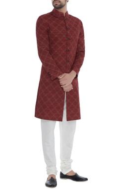 Khanijo Red handloom silk kantha chequered achkan