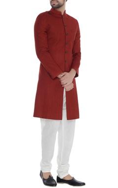 Khanijo Red solid handloom silk achkan