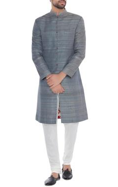 Khanijo Grey solid handloom silk achkan with printed lining