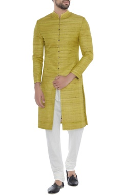 Khanijo Lime green solid handloom silk achkan with printed lining