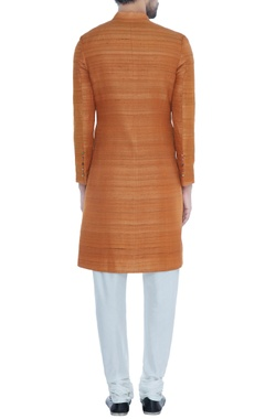 Orange solid handloom silk achkan with printed lining