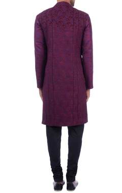 purple jacquard cotton silk sherwani