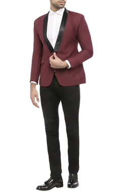 maroon suiting fabric solid jacket