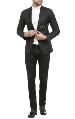 black suiting fabric deo dart print jacket
