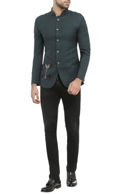 midnight green suiting fabric embroidered jacket