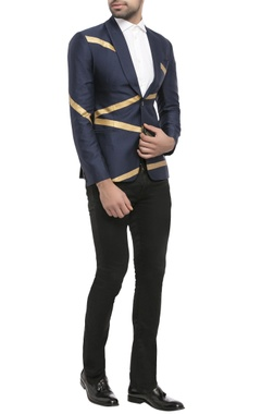 navy blue suiting fabric zigzag print jacket
