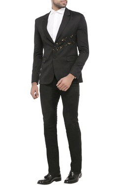 navy blue suiting fabric deo dart print jacket
