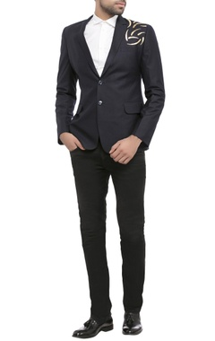 navy blue suiting fabric acrylic print jacket