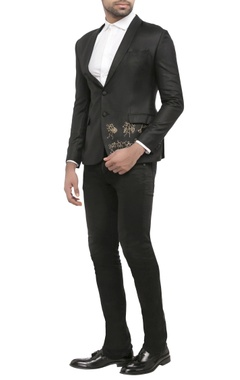 black suiting fabric worli print jacket
