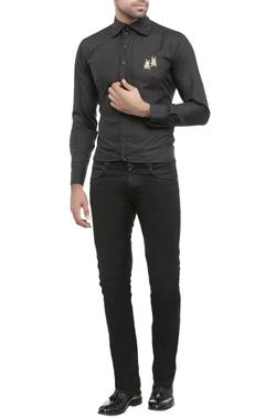 black shirting fabric embroidered shirt