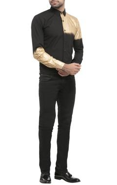 black shirting fabric spray print shirt