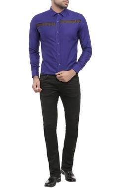 electric blue shirting fabric deo print patti shirt