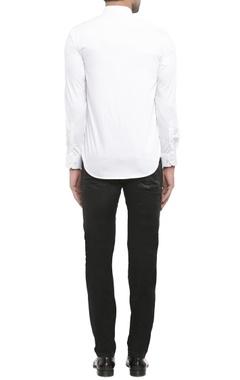 white shirting fabric zigzag print shirt