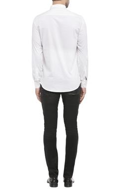 white shirting fabric maple print shirt