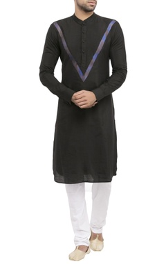 black cotton jacquard worli print kurta