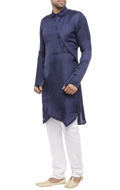 navy blue cotton silk side opening kurta